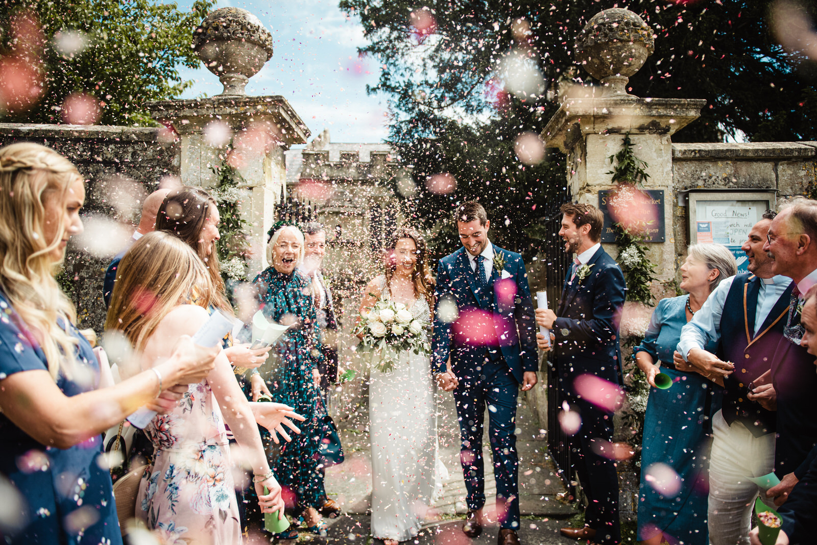 Masses of confetti at Tom and Jocelyns Bath wedding in somerset