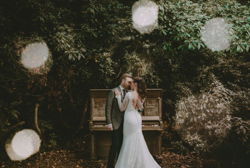 Bride and groom together at Iscoyd park