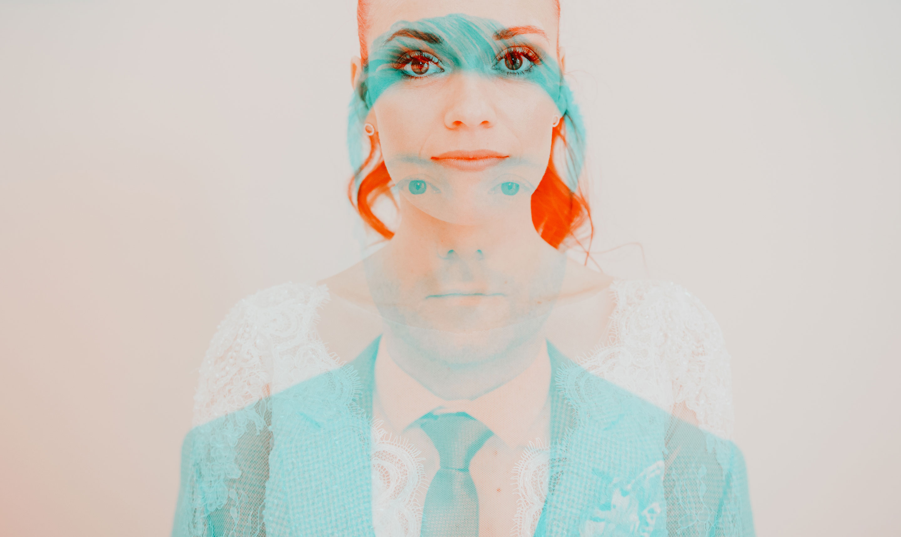 bride and groom in colour double exposure for pricing page