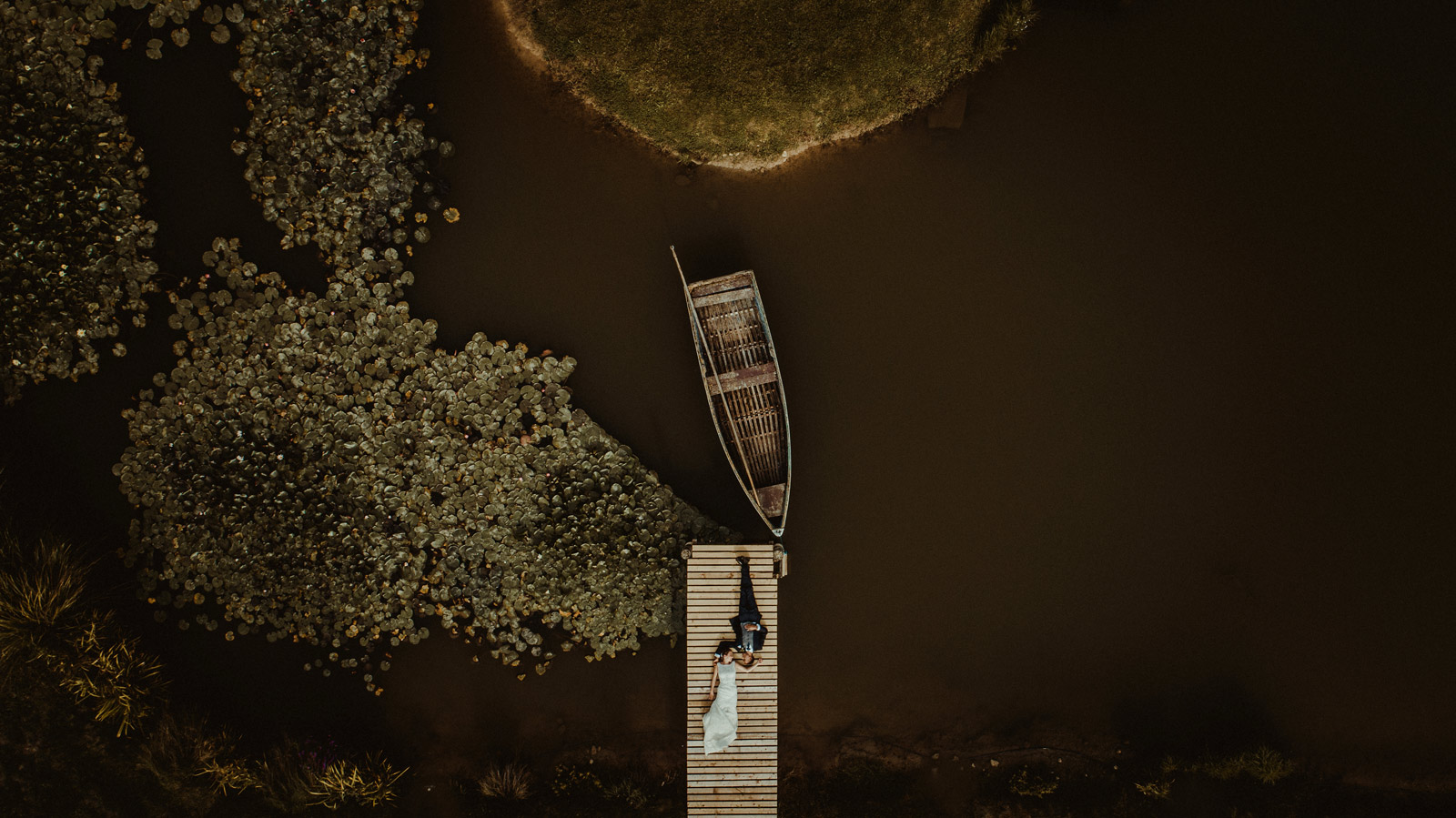 Emily and Andrew at the lake taken with a drone