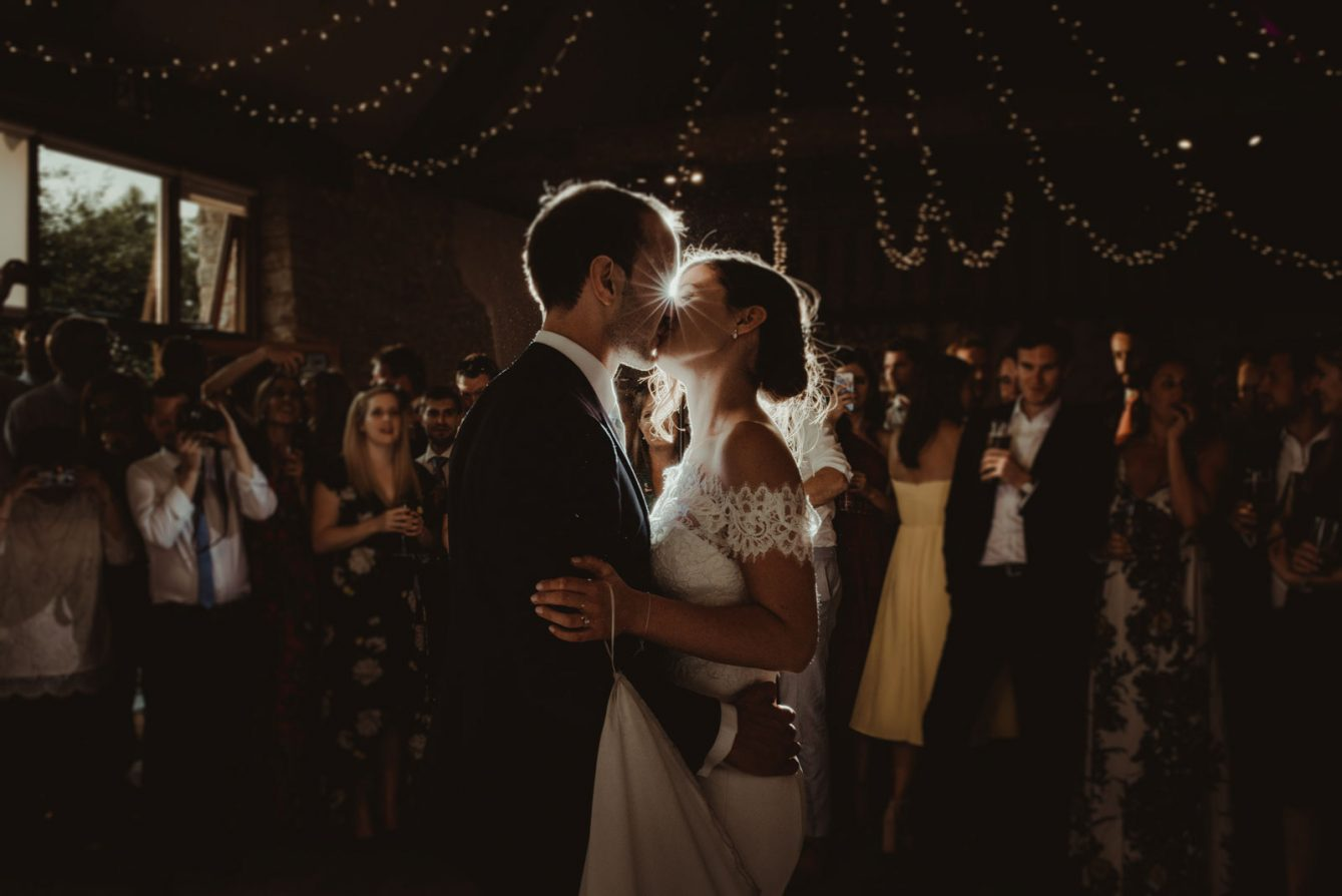 bride and groom having their first dance at wick farm in Bath, Somerset