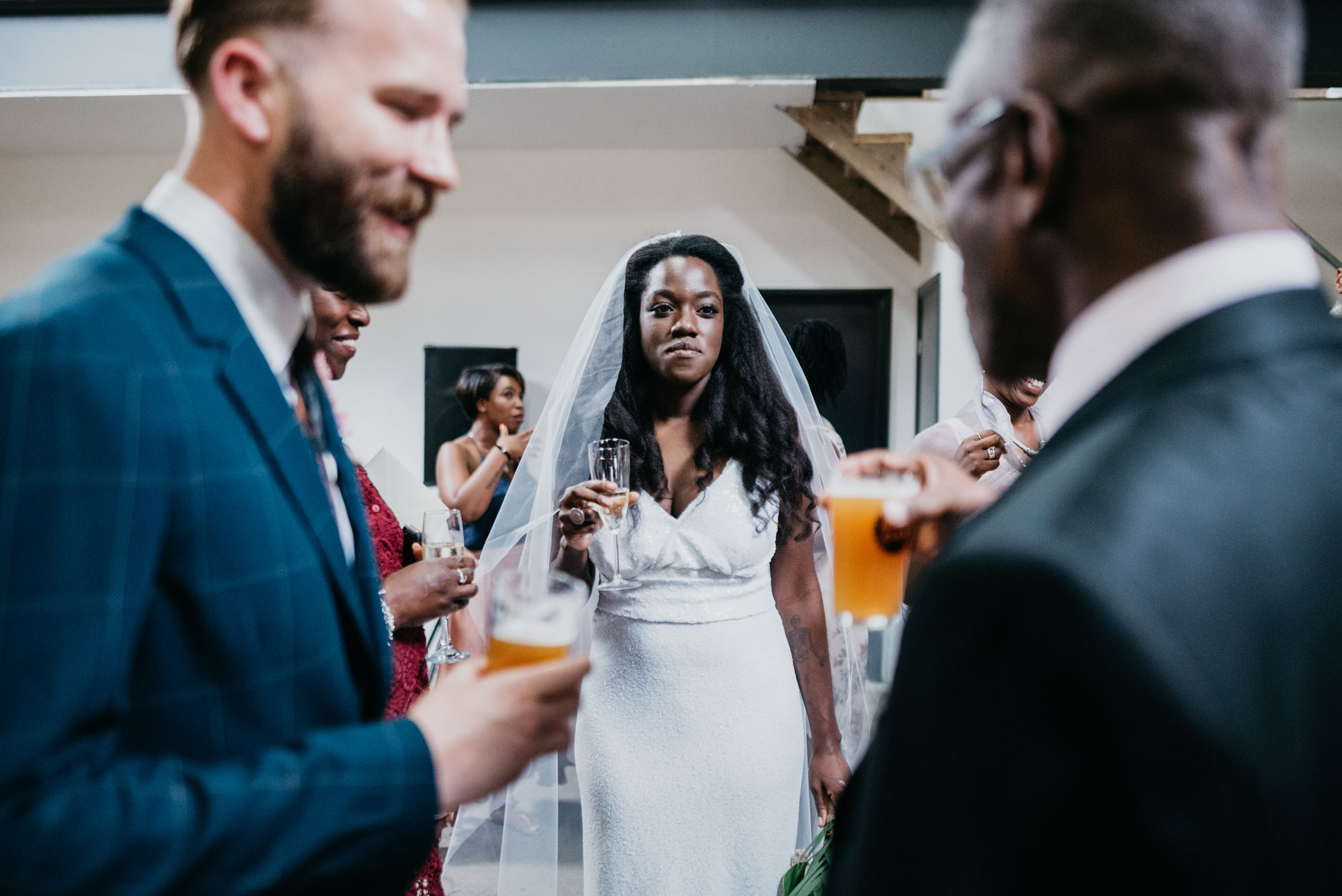 bride talking to guest at the new club