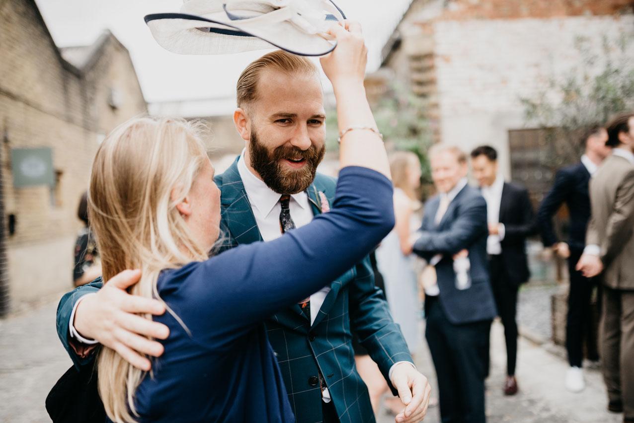 groom meeting his guests