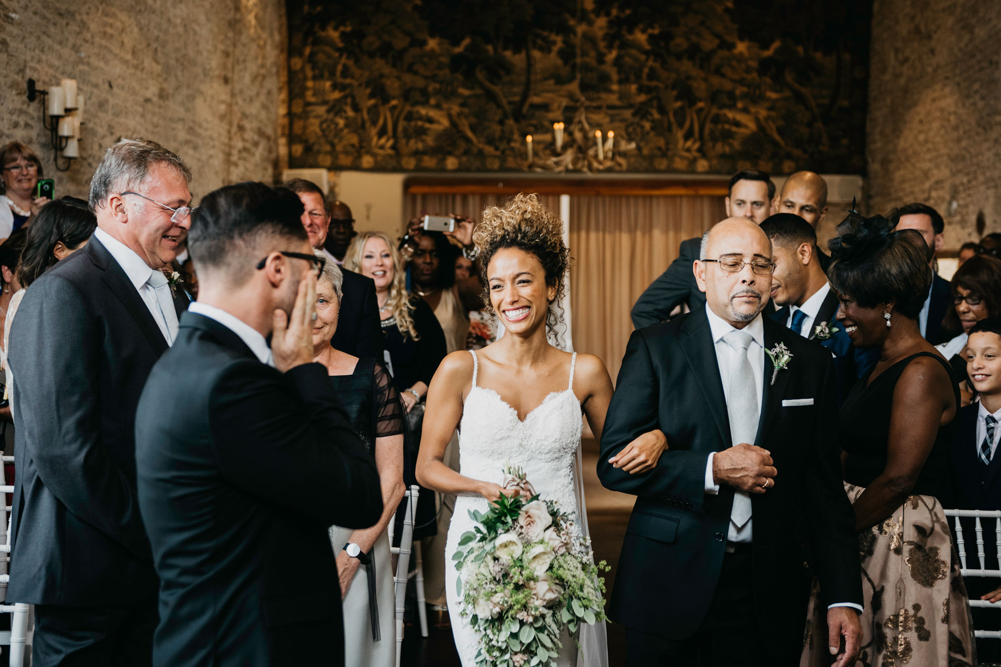 groom seeing his bride for the first time at merrisscourt barn