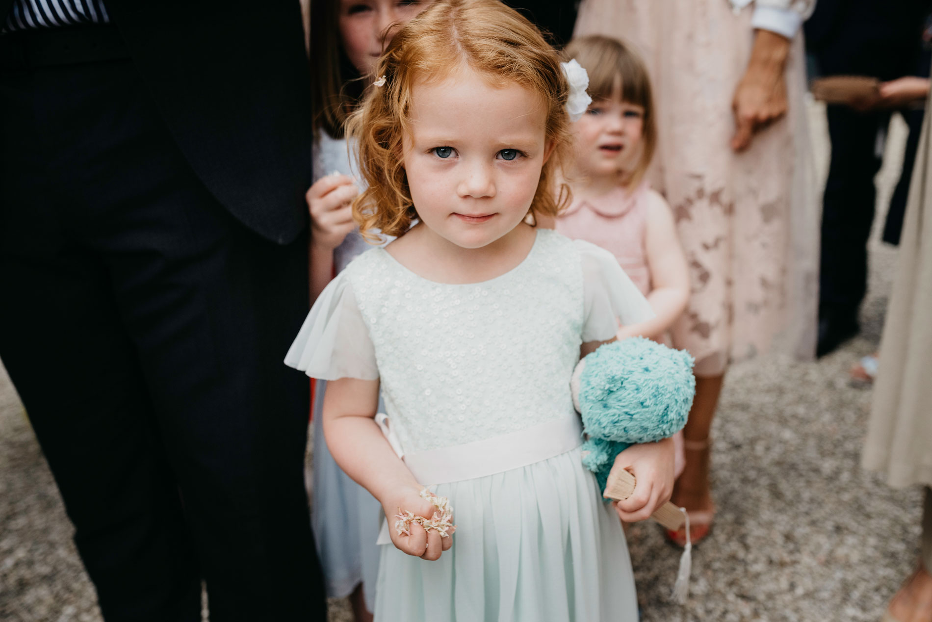 little girl with confetti at merriscourt barn
