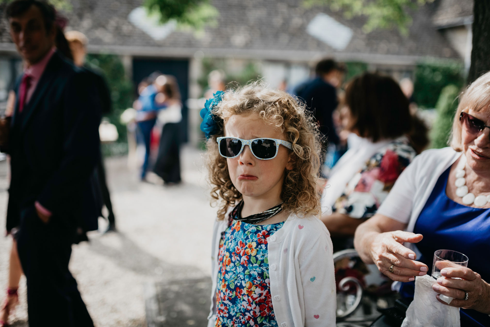 wedding guest at merriscourt barn in the Cotswolds