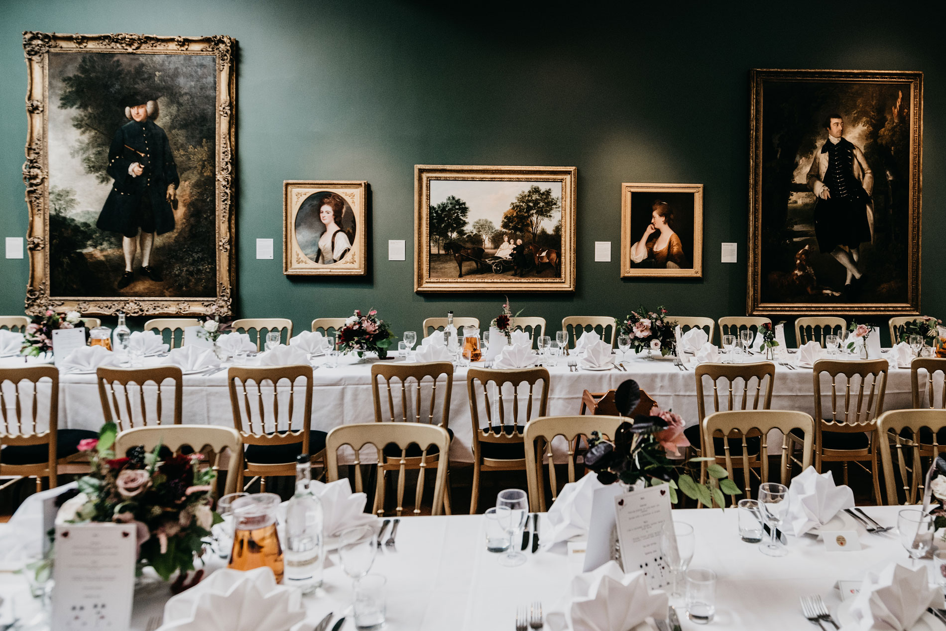 dinning table for a wedding at Amy and John getting married at The Holburne Museum in Bath