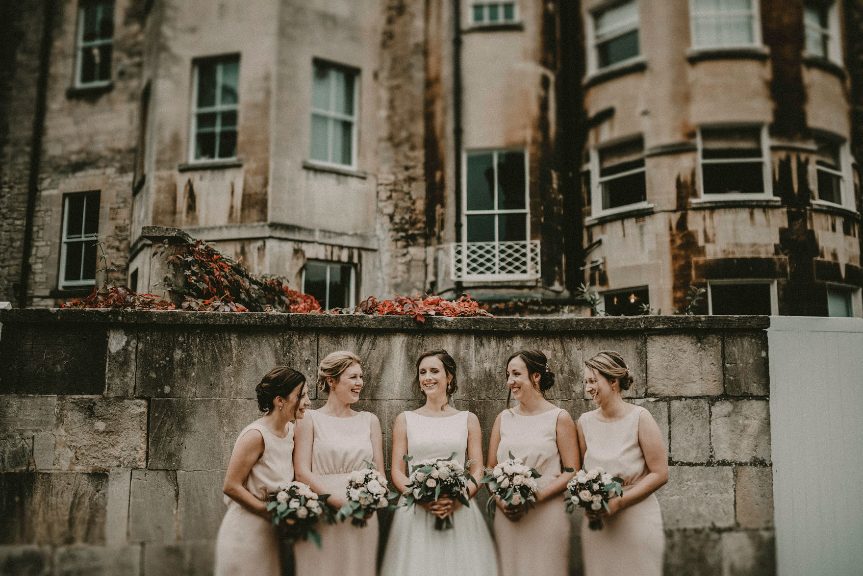 bride and bridesmaids oiutseife the Assembly rooms in Bath