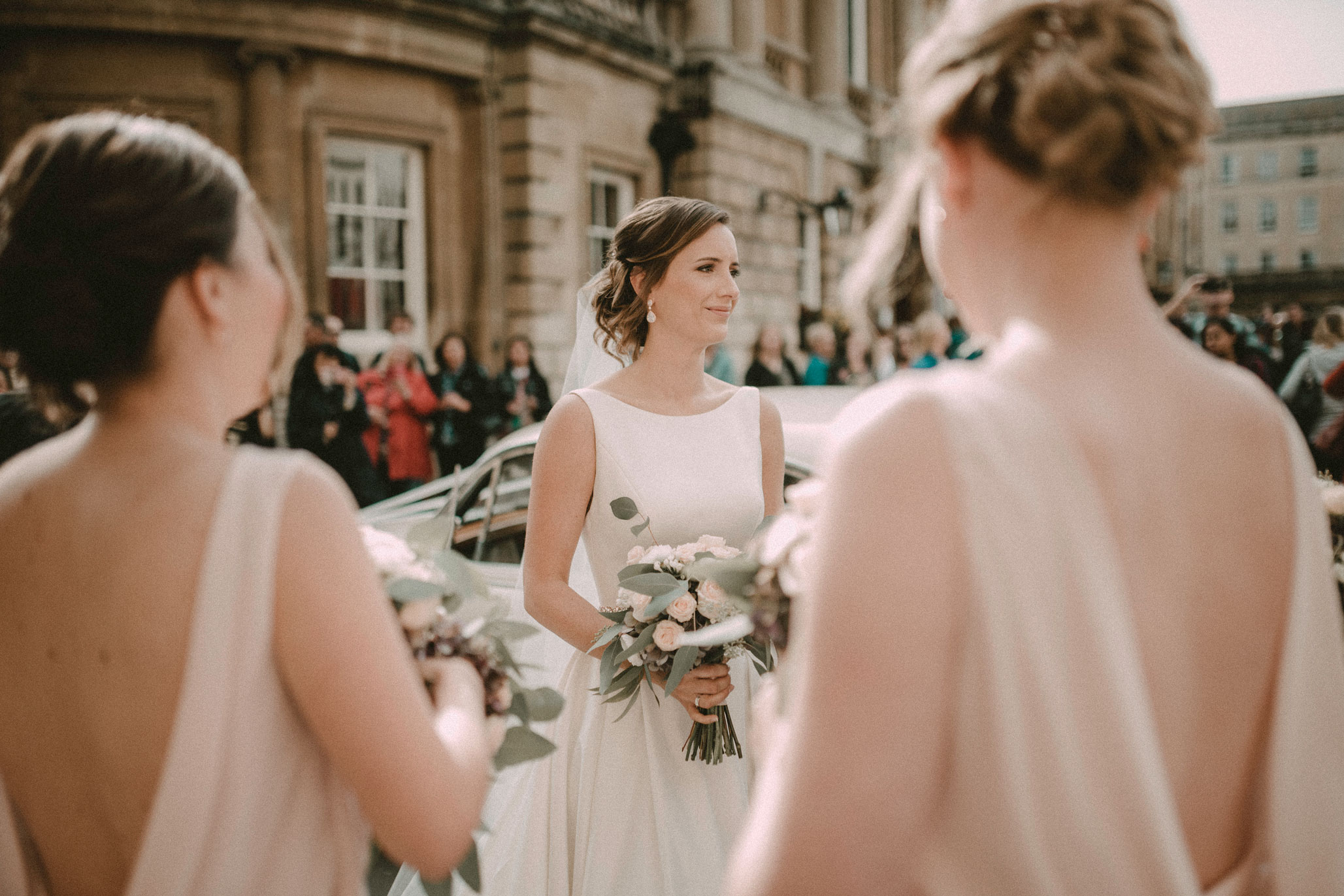 Bride waiting outside Bath Abbey