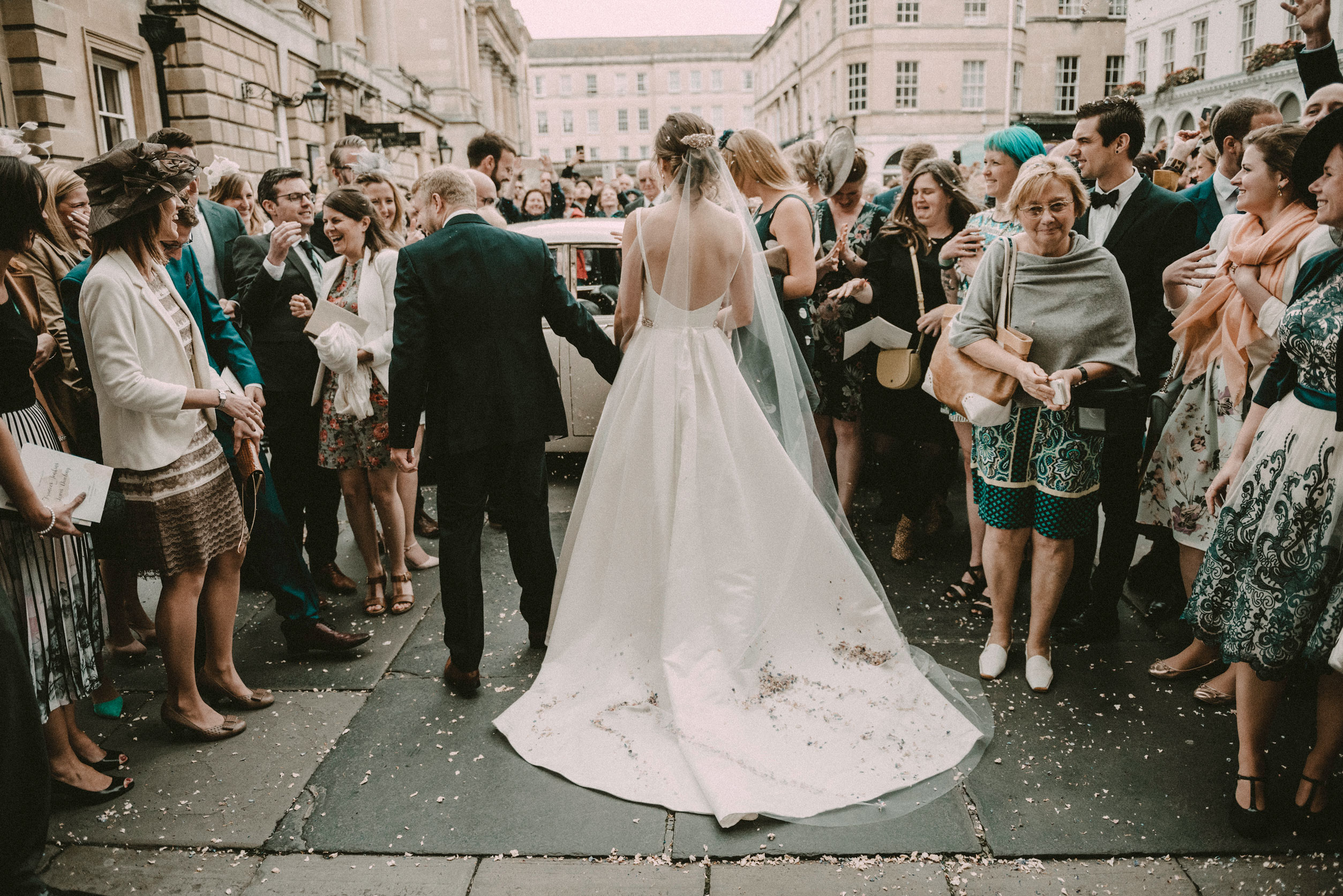 Confetti and guest at Bath abbey
