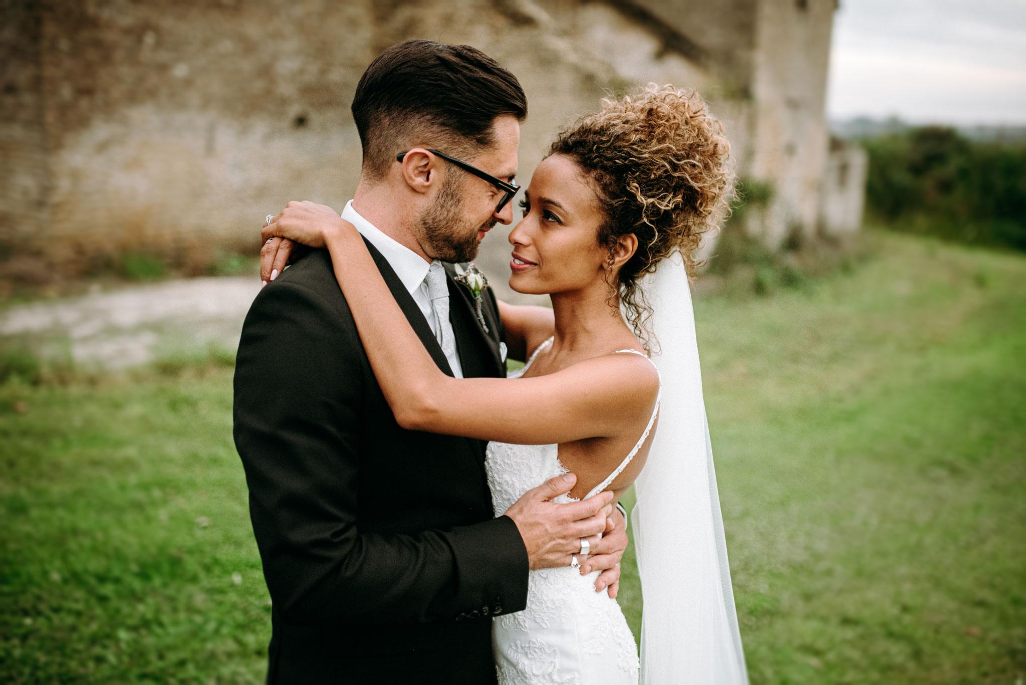 Joe and katrina at thier wedding at Merriscourt barn chipping norton