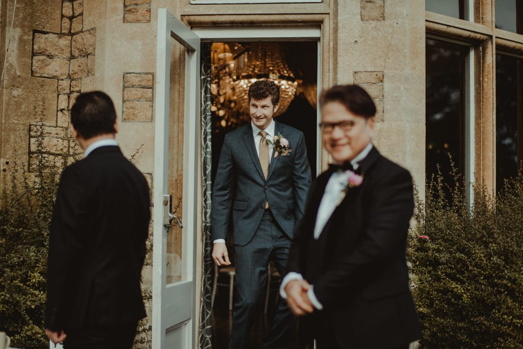 Groom coming out meetings guest at homeewood house