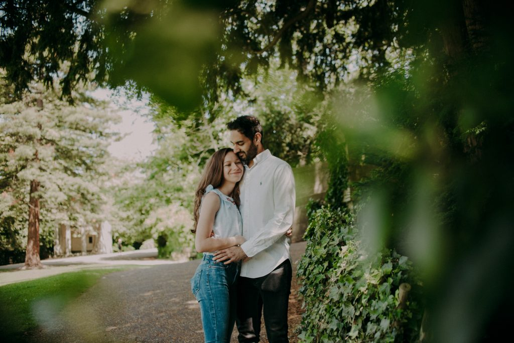 Ellie and Shahill's engagement shoot in Sydney Gardens in Bath