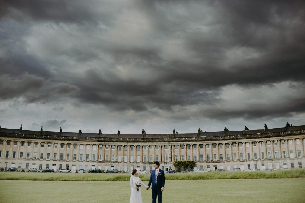 Ken and Lam elopement wedding shoot at the Royal Crescent in Bath.