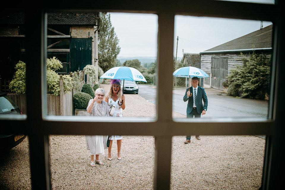 weding guests at merriscourt barn wedding