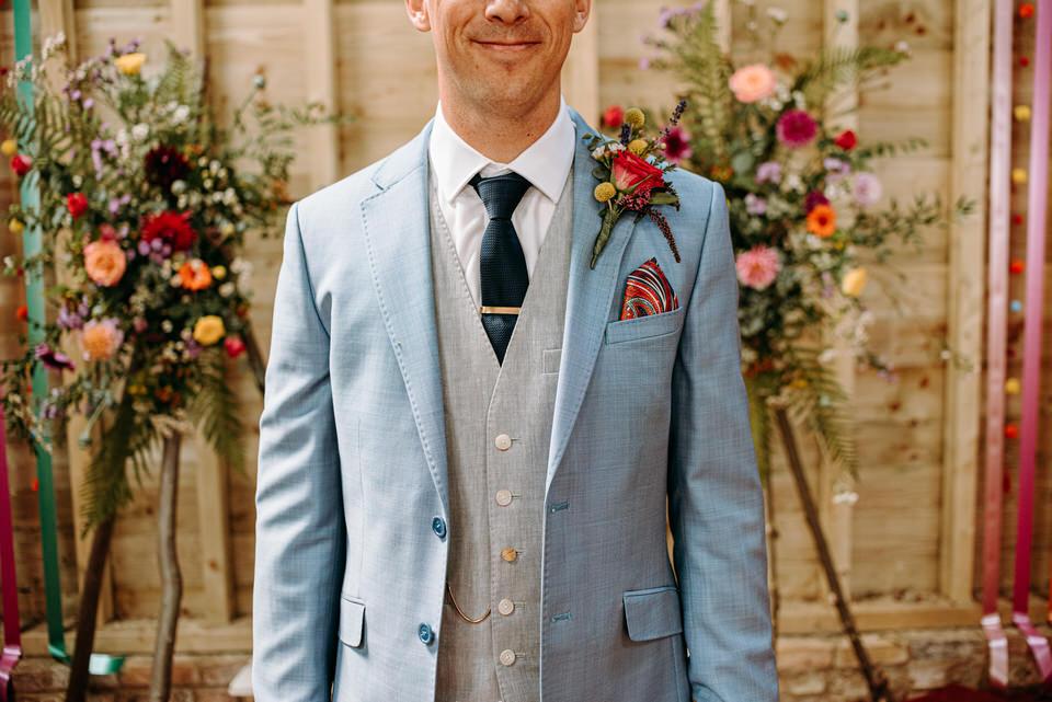 Tim in his suit at Longbourn Farm