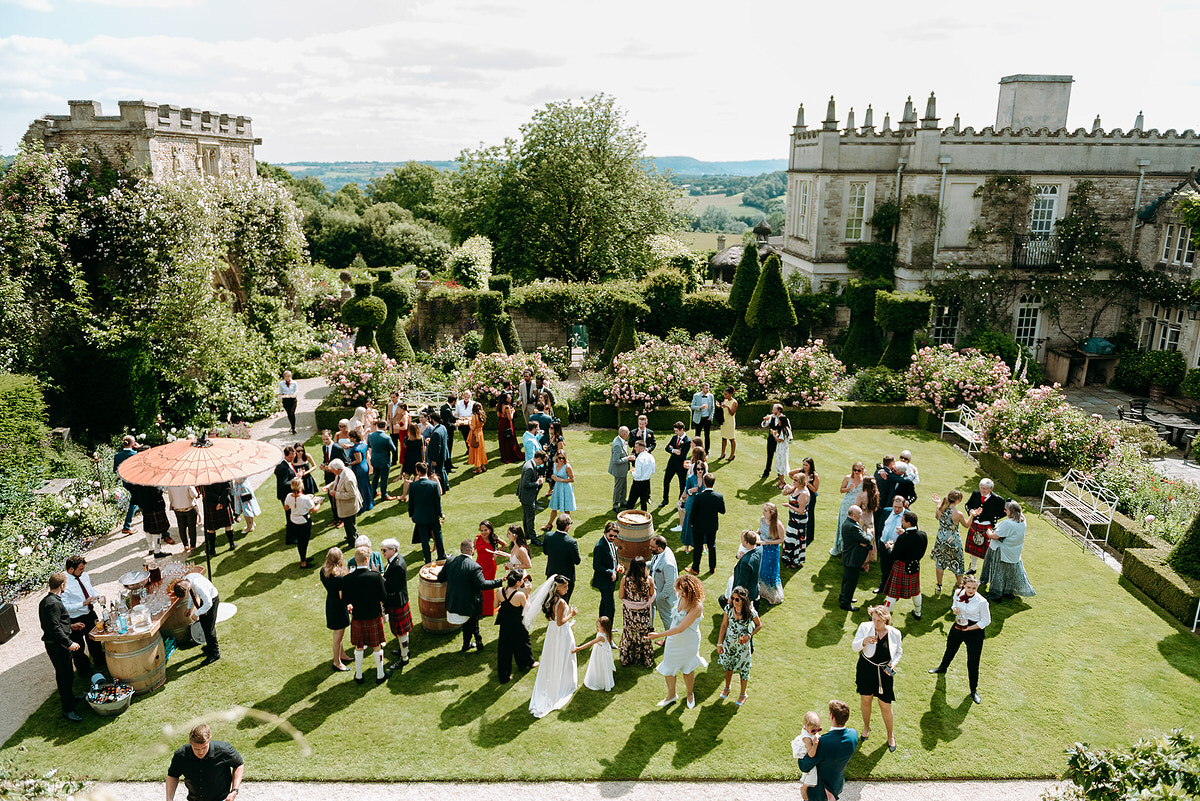 aerial view of a summer wedding at Euridge Manor Farm and Orangery in Wiltshire
